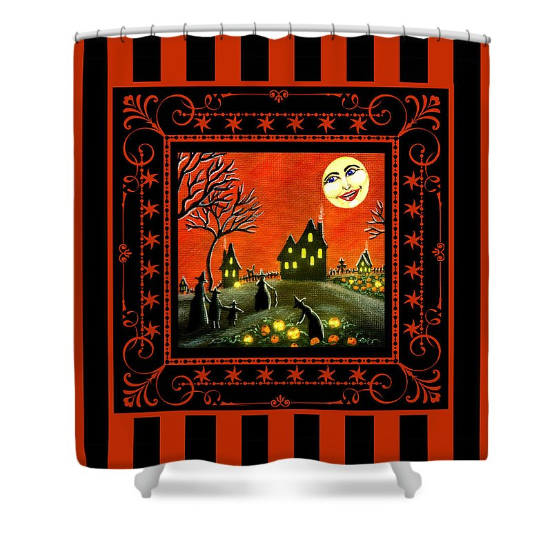 Halloween Shower Curtain featuring the painting Ripening Jack-o-lanterns by Christine Altmann