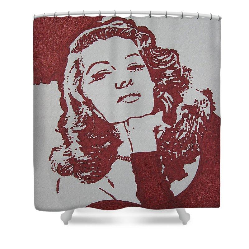 Rita Shower Curtain featuring the drawing Rita by Lynet McDonald