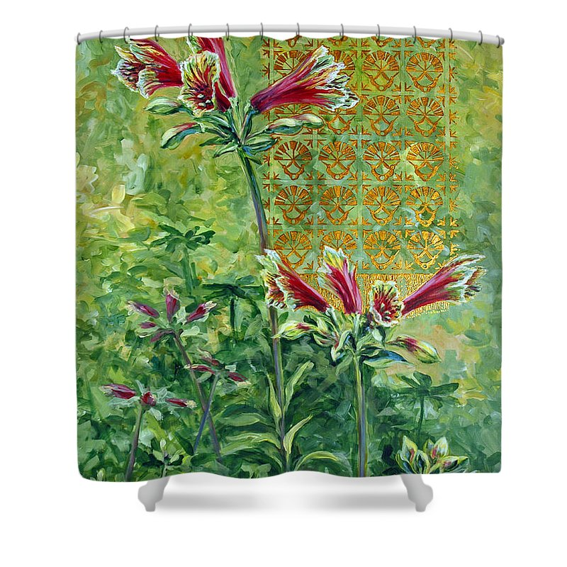 Acrylic Shower Curtain featuring the painting Roadside Discovery by Suzanne McKee