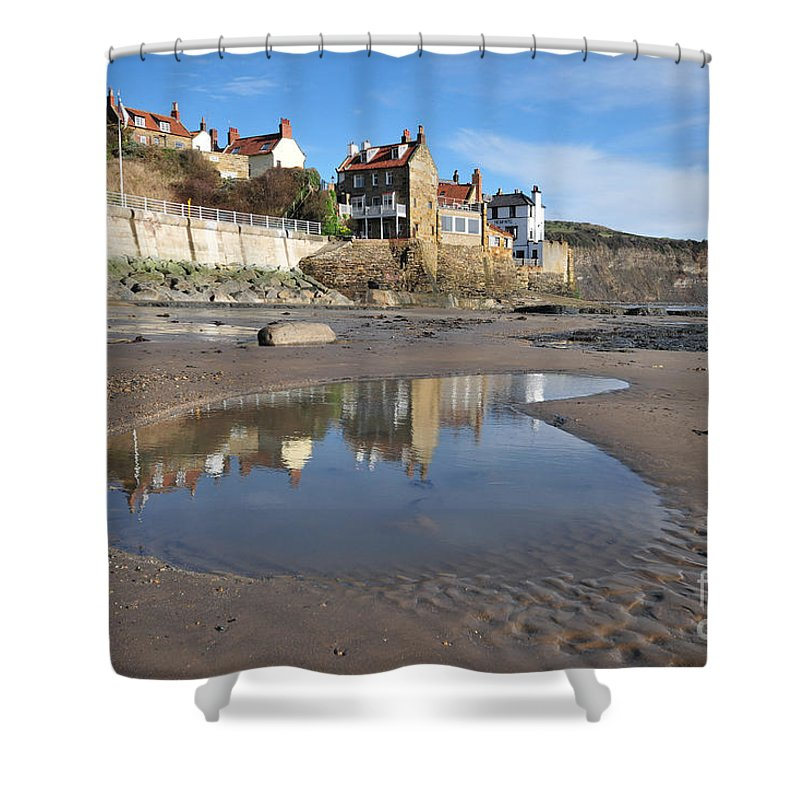 Robin Hoods Bay Shower Curtain featuring the photograph Robin Hoods Bay by Smart Aviation