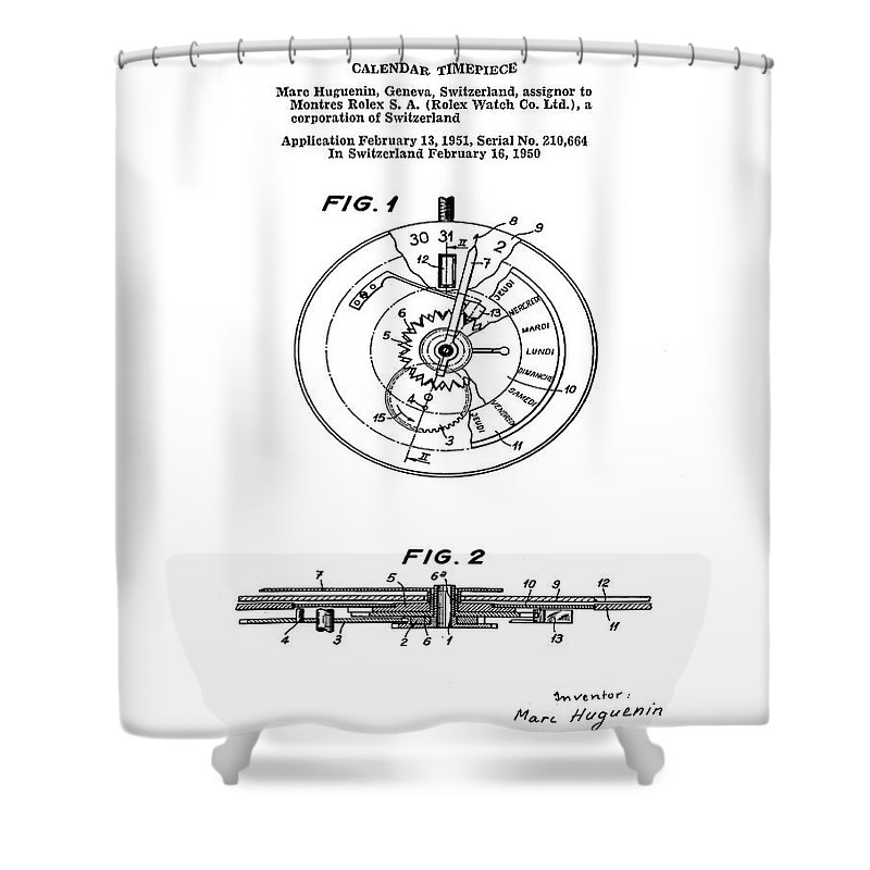 Swiss Watch Drawings Shower Curtains
