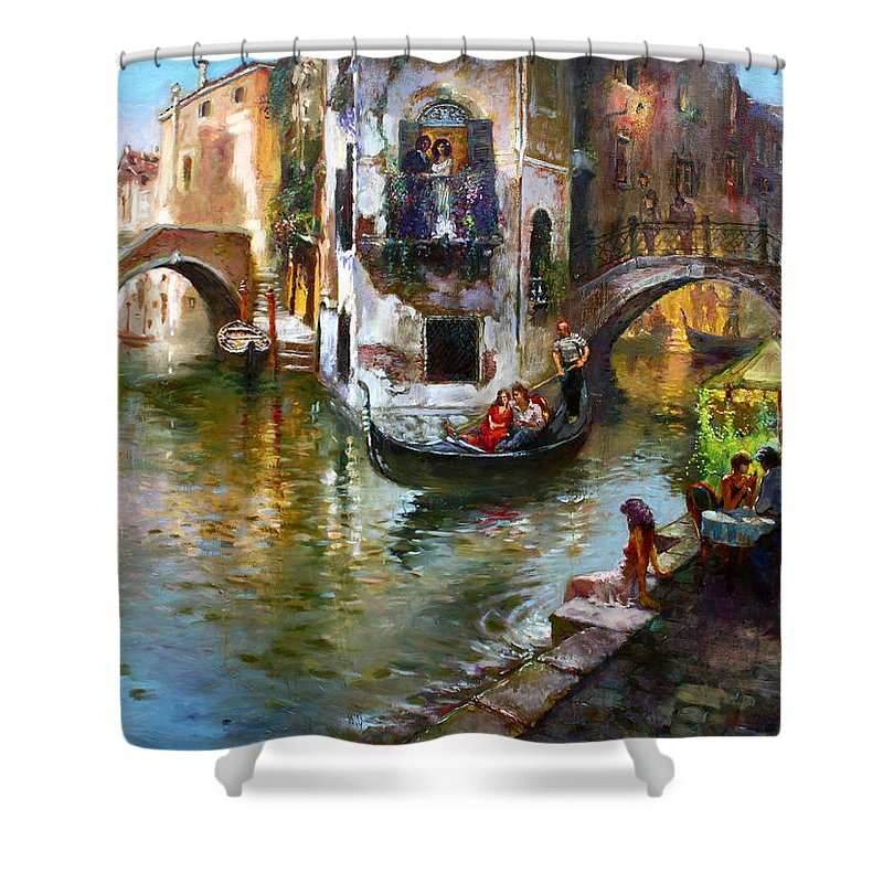 Romance In Venice Shower Curtain featuring the painting Romance In Venice by Ylli Haruni