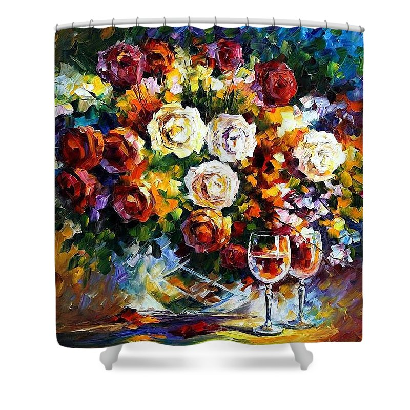 Afremov Shower Curtain featuring the painting Roses And Wine by Leonid Afremov