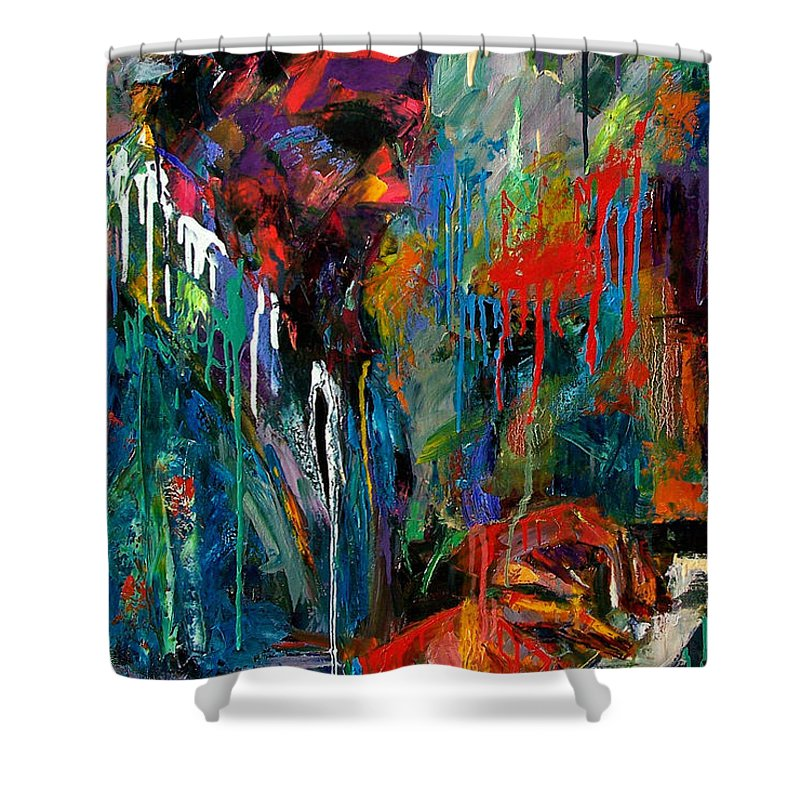 Painting Shower Curtain featuring the painting Round Midnight by Debra Hurd