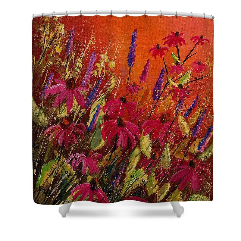 Flowers Shower Curtain featuring the painting Rudbeckias And Lyatris by Pol Ledent