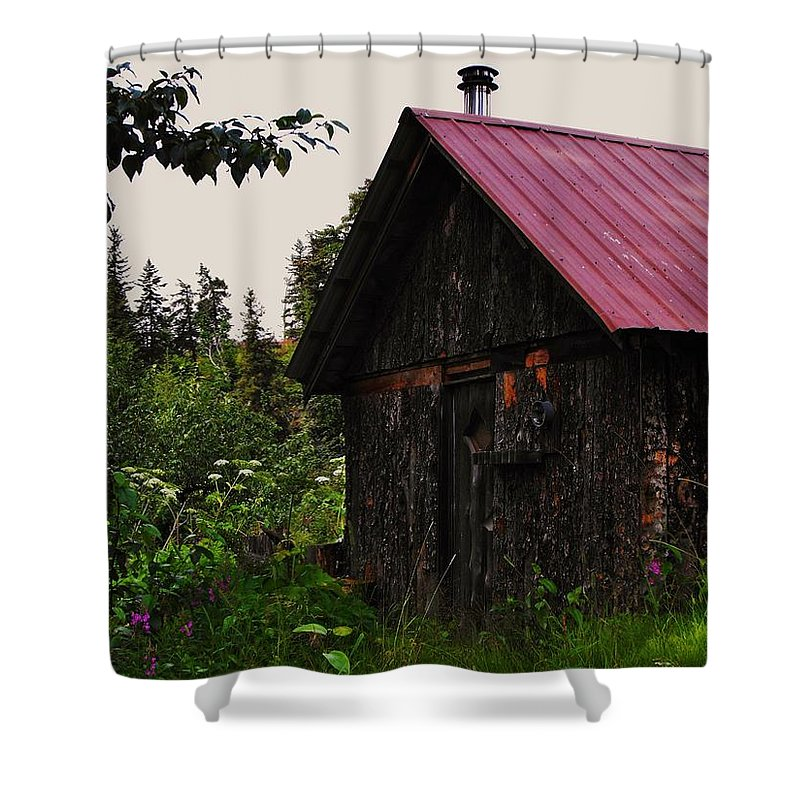 Homer Alaska Shower Curtain featuring the photograph Rustic Homestead by Lori Mahaffey