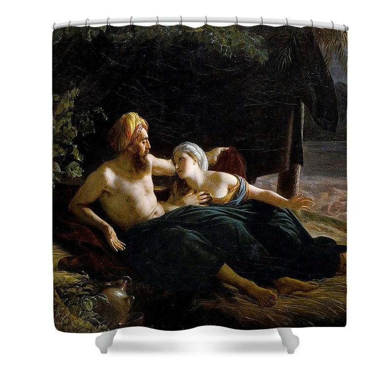 Louis Hersent Shower Curtain featuring the painting Ruth And Booz by Louis Hersent