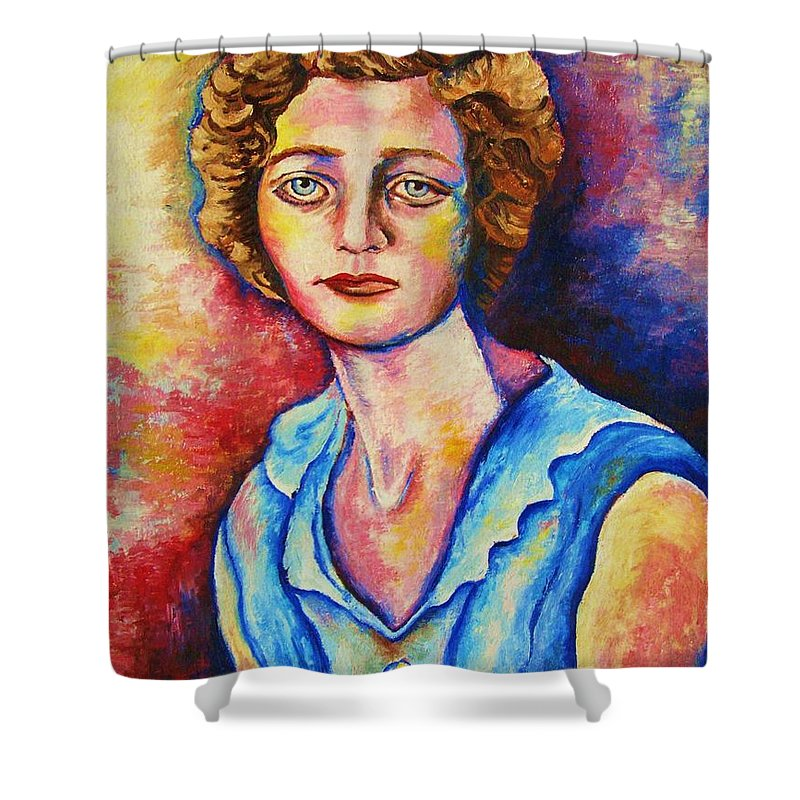 Portraits Shower Curtain featuring the painting Sad Eyes by Carole Spandau