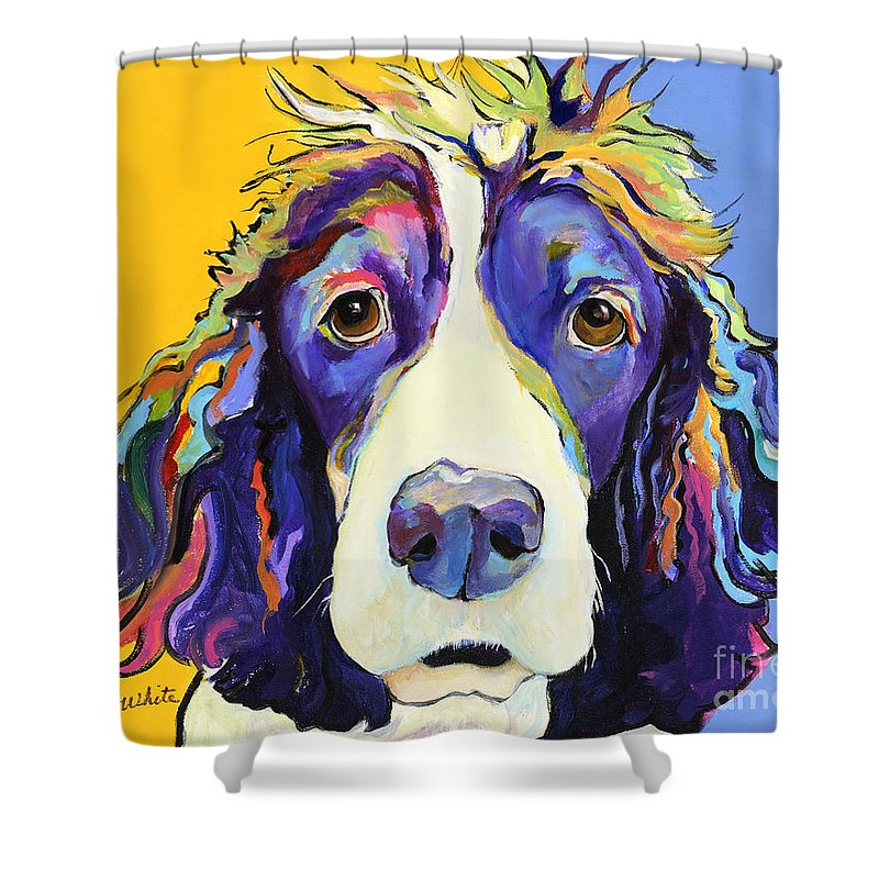 Blue Shower Curtain featuring the painting Sadie by Pat Saunders-White