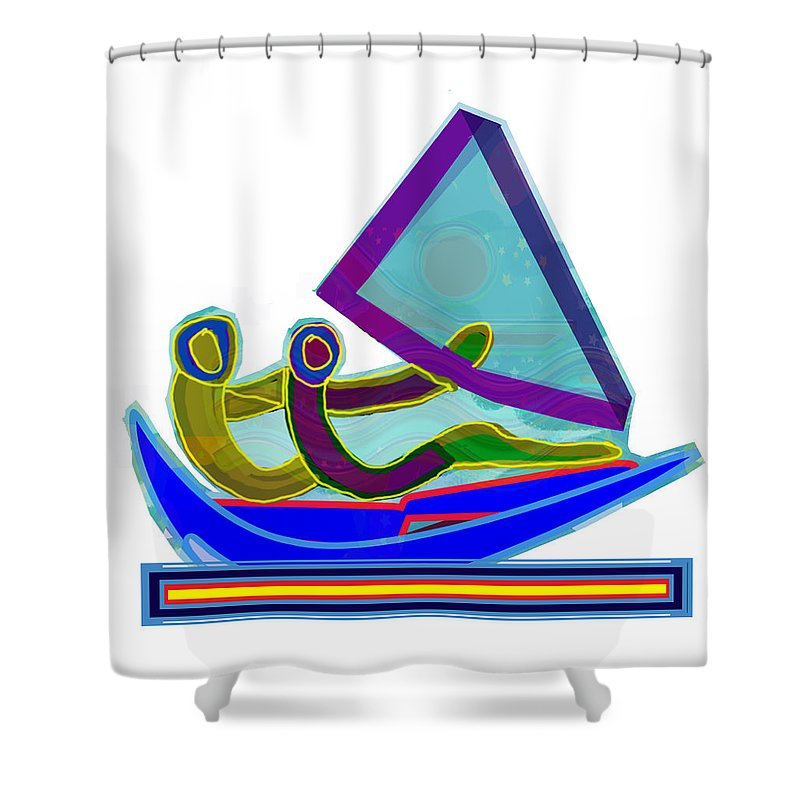 Sail Shower Curtain Featuring The Mixed Media Boat Couple Graphic Ditigal Abstract Painting By Navin