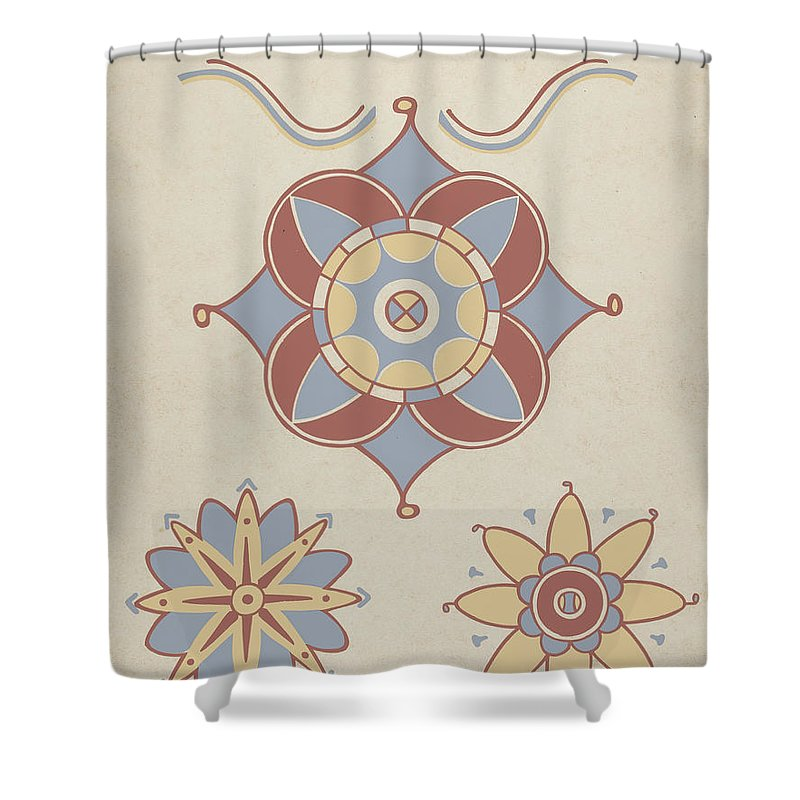 """Shower Curtain featuring the drawing San Juan Capistrano Mission Ceiling Decoration From The Portfolio """"decorative Art Of Spanish California"""" by American 20th Century"""