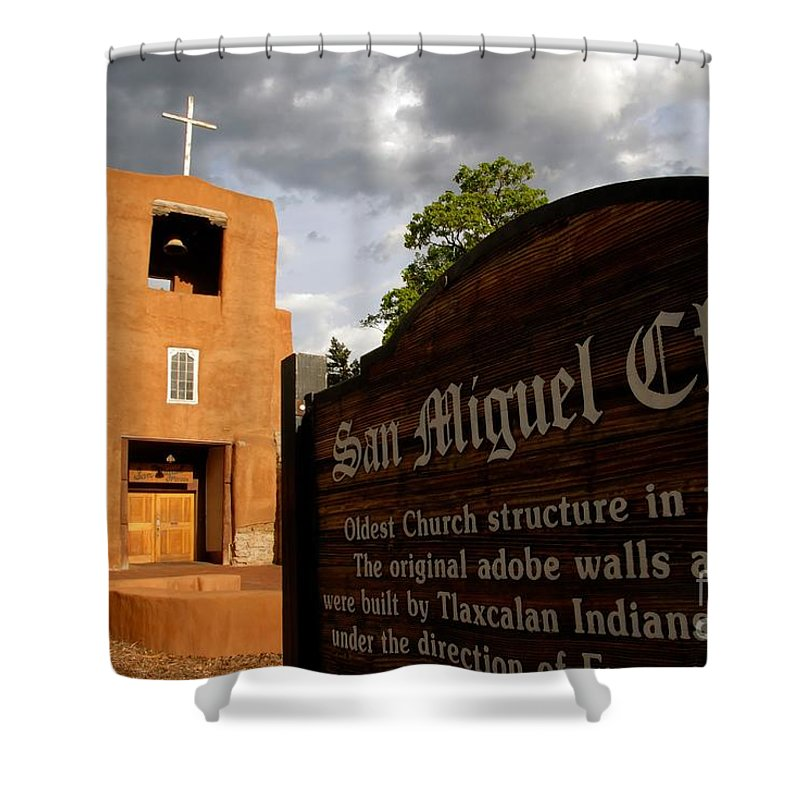 San Miguel Mission Church New Mexico Shower Curtain featuring the photograph San Miguel Mission Church by David Lee Thompson