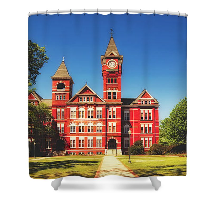 Sanford Hall Shower Curtain Featuring The Photograph Auburn University By Library Of Congress