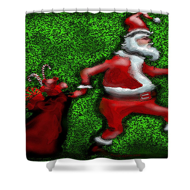 Santa Shower Curtain featuring the greeting card Santa Claus by Kevin Middleton