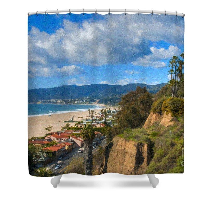 Santa Monica Shower Curtain featuring the photograph Santa Monica Ca Steps Palisades Park Bluffs by David Zanzinger