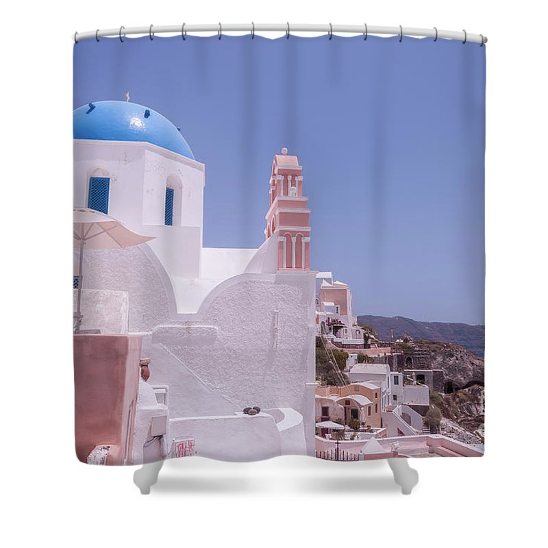 Greece Shower Curtain featuring the photograph Santorini Oia Blue Domed Church by Antony McAulay