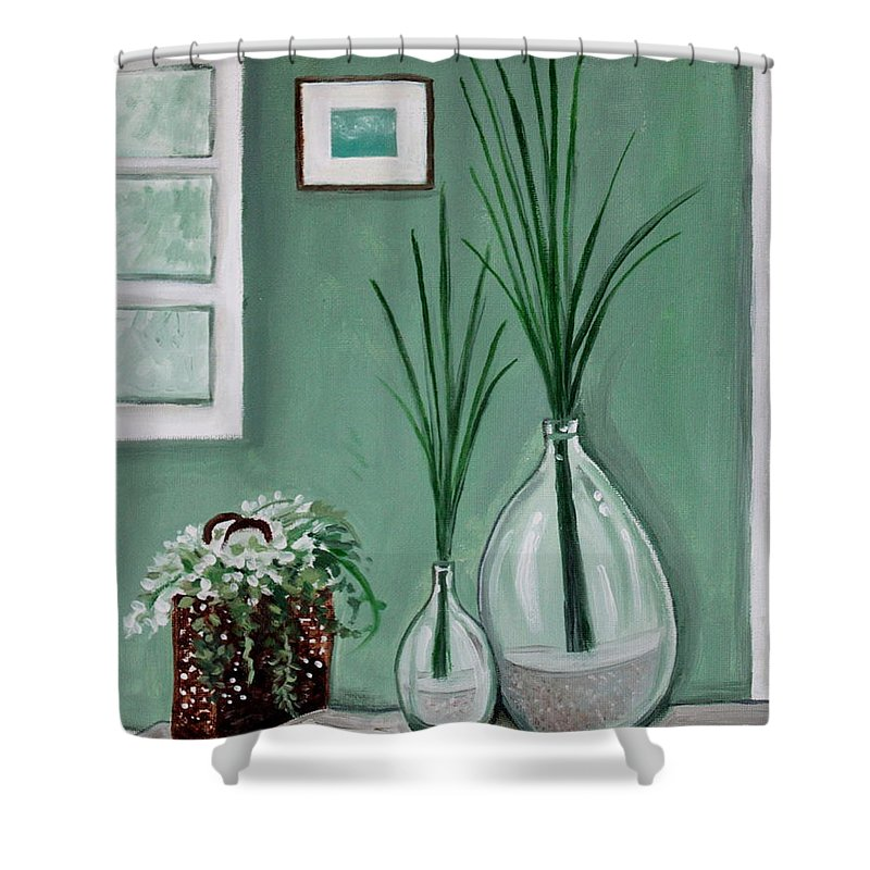 Home Decor Art Shower Curtain featuring the painting Sea Grass by Elizabeth Robinette Tyndall