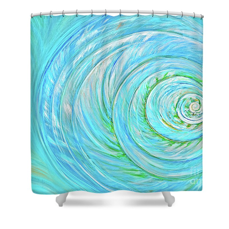 Grand Bahama Shower Curtain featuring the painting Sea Shell by Paola Correa de Albury
