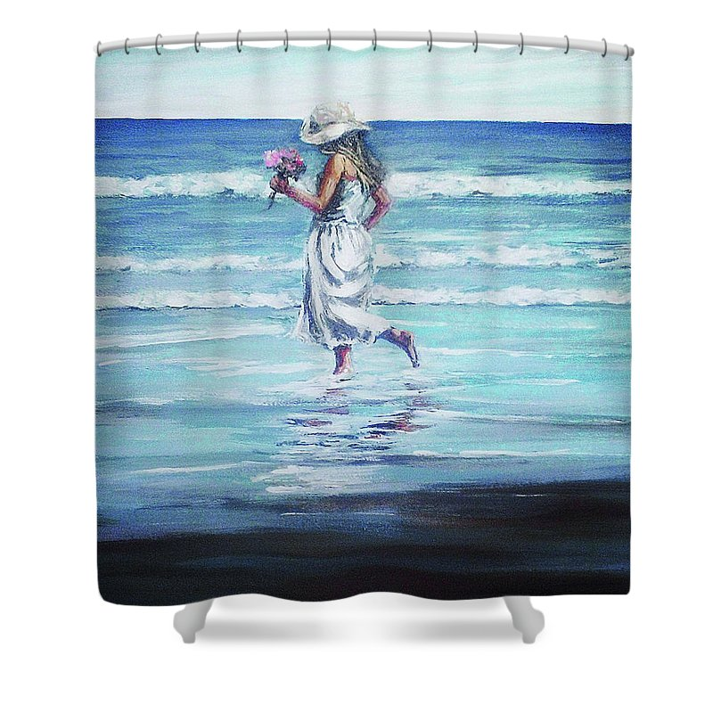 Seascape Shower Curtain featuring the painting Sea Walk by Natalia Tejera