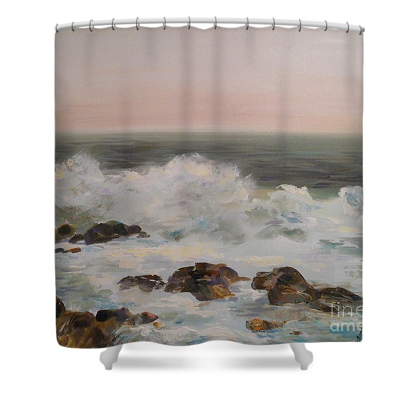 Sea Shower Curtain featuring the painting Seascape by Angelina Nedin