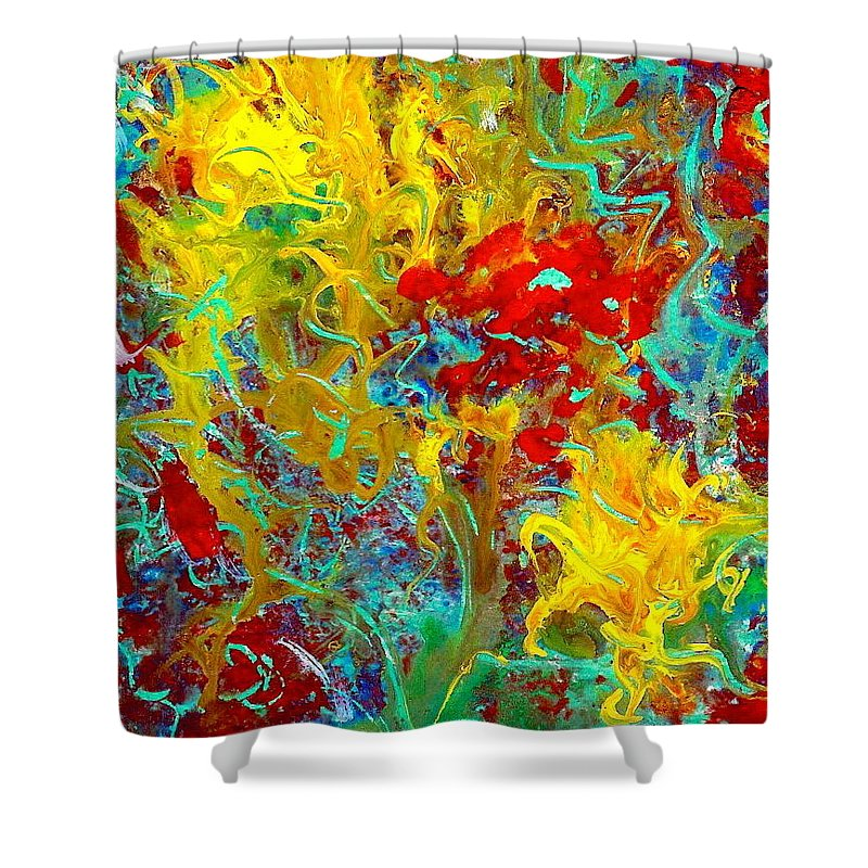 Secret Garden Shower Curtain featuring the painting Secret Garden by Natalie Holland