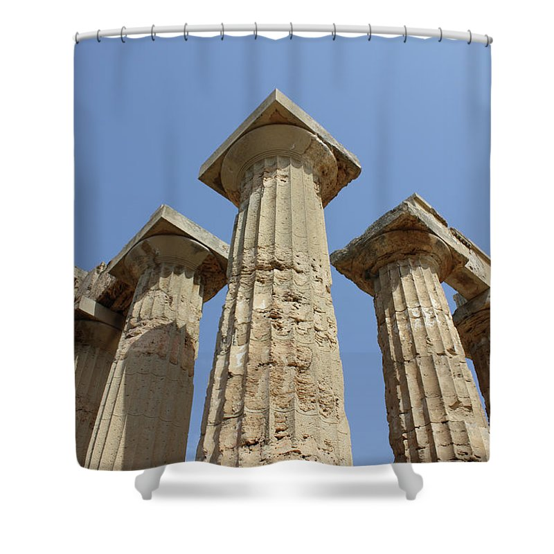Aged Shower Curtain featuring the photograph Segesta Greek Temple In Sicily, Italy by Paolo Modena