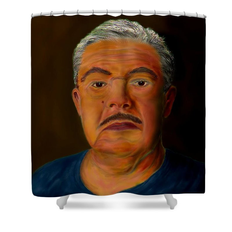Selfportrait Shower Curtain featuring the painting Selfportrait by Helmut Rottler