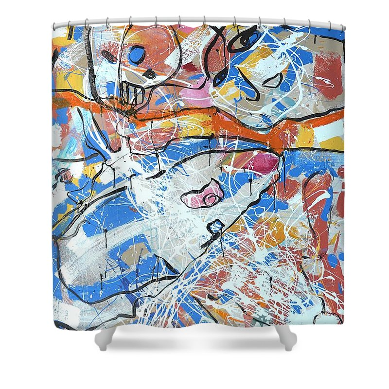 Abstract Shower Curtain featuring the painting shark attack - Challenge 2017 Find a Cure by Grace Divine