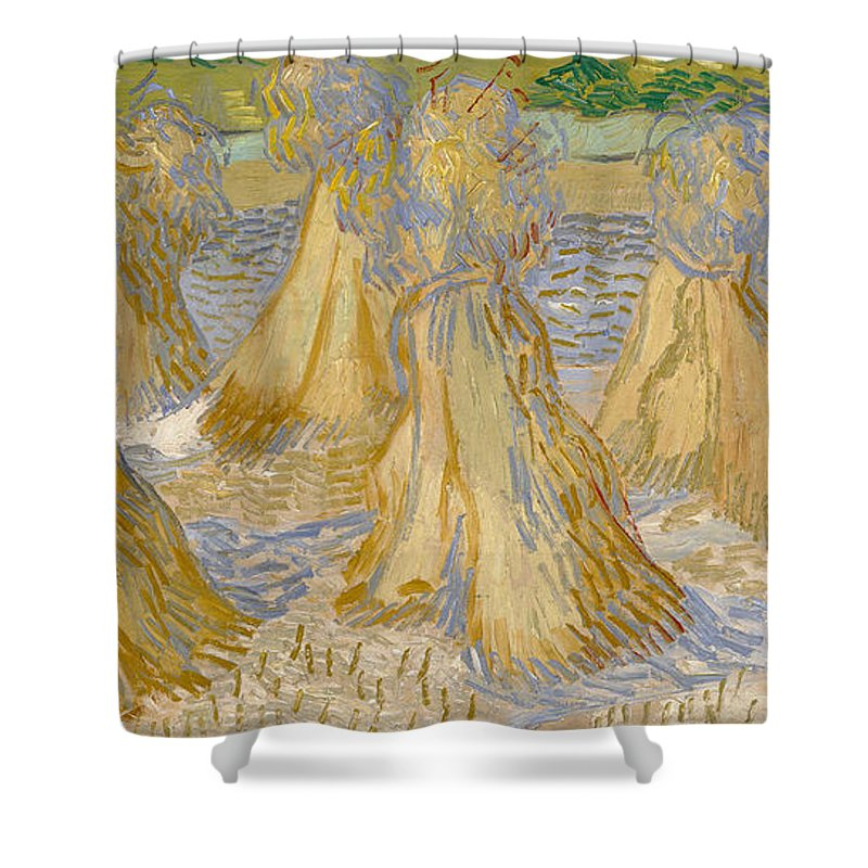 Dutch Shower Curtain featuring the painting Sheaves Of Wheat by Vincent van Gogh