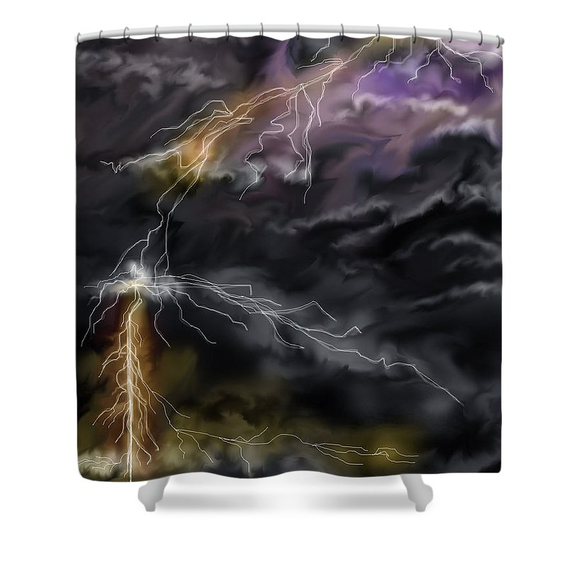 Seascape Shower Curtain featuring the painting Shock and Awe by Anne Norskog