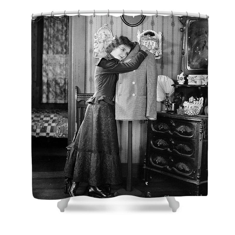 -women Single Figures- Shower Curtain featuring the photograph Silent Film Still: Woman by Granger