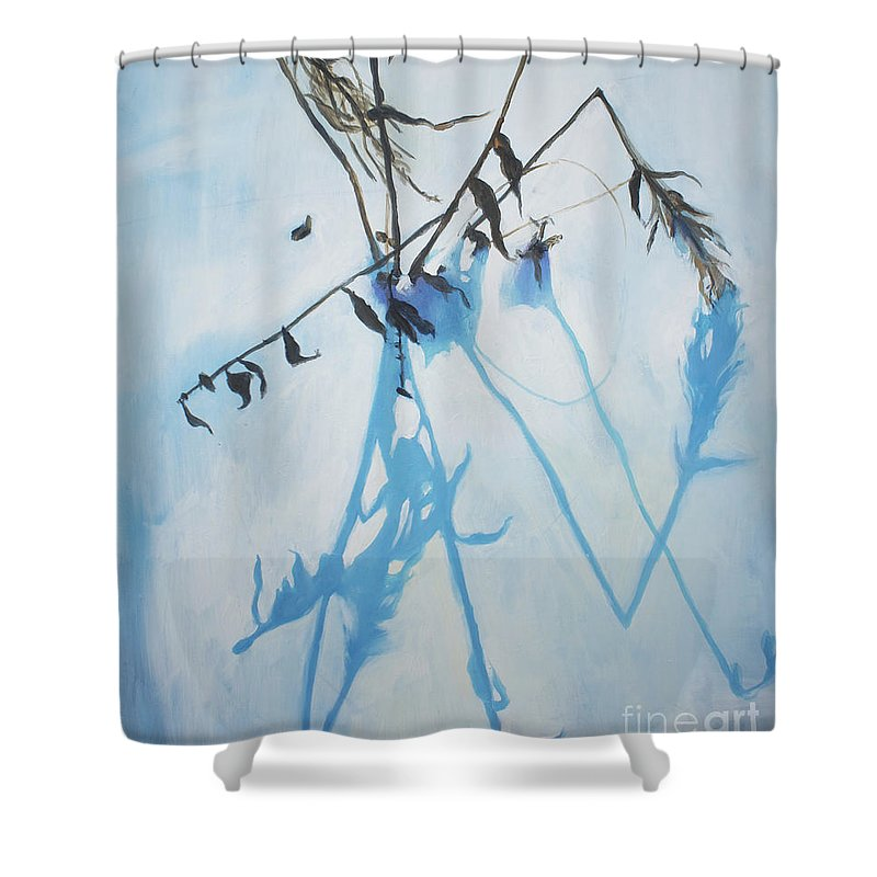 Lin Petershagen Shower Curtain featuring the painting Silent Winter by Lin Petershagen