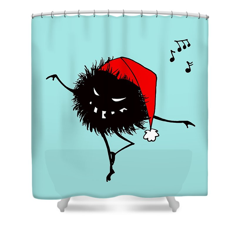 Bug Shower Curtain featuring the digital art Singing And Dancing Evil Christmas Bug by Boriana Giormova