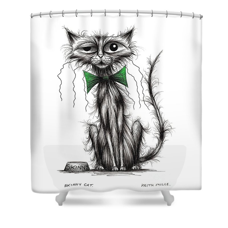 Skinny Cat Shower Curtain Featuring The Drawing By Keith Mills