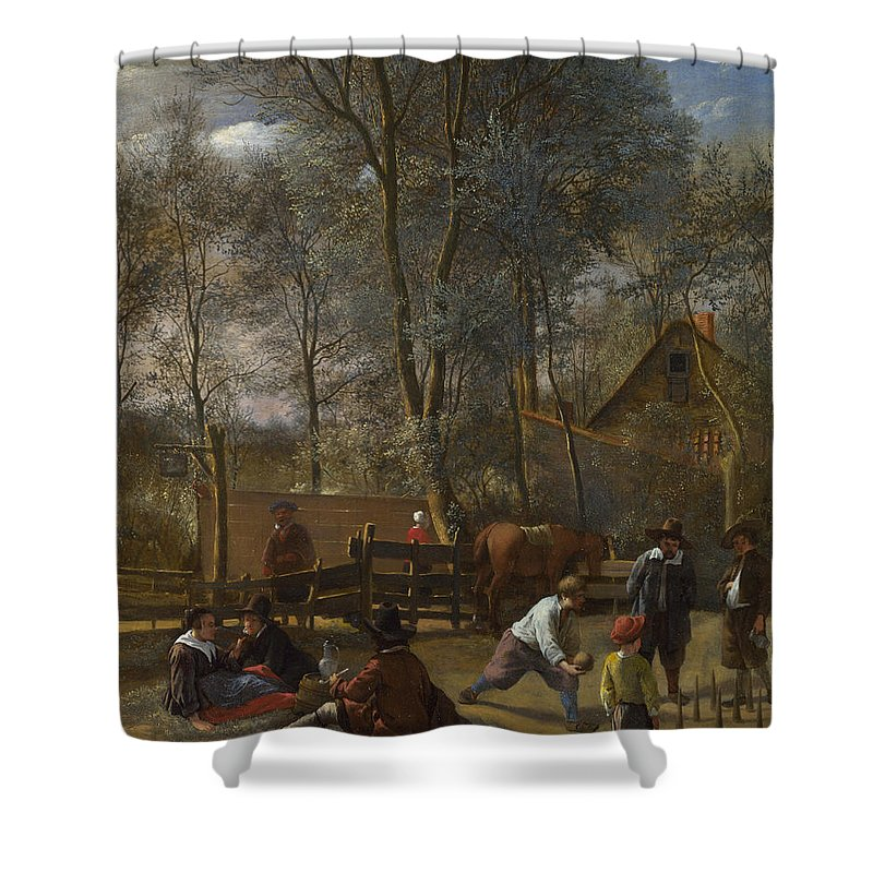 Arts Shower Curtain featuring the painting Skittle Players Outside An Inn by Jan Steen