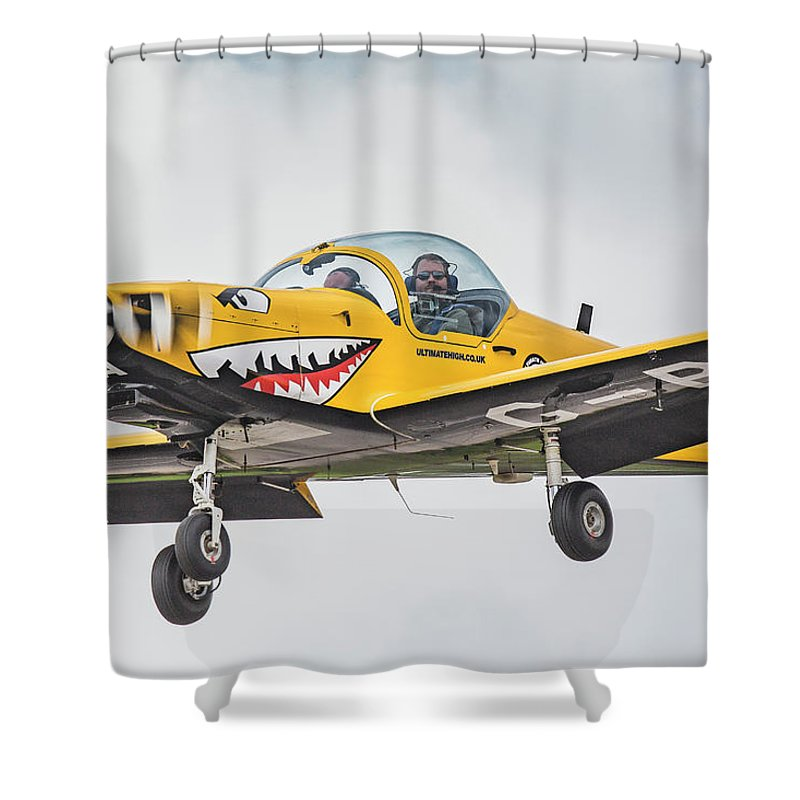 Slingsby Firefly Light Aircraft T67 Aviation Ultimate High Goodwood Landing Shower Curtain Featuring The Photograph