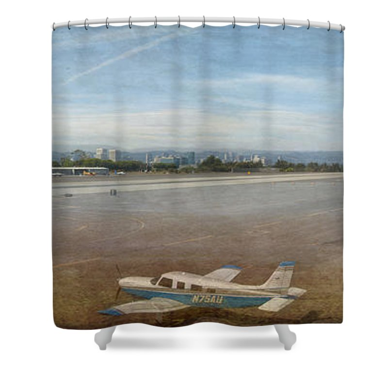 Small City Airport Planes Taking Off Fine Art Photograph Digital Watercolor Texture Overlay Shower Curtain featuring the photograph Small City Airport Plane Taking Off by David Zanzinger