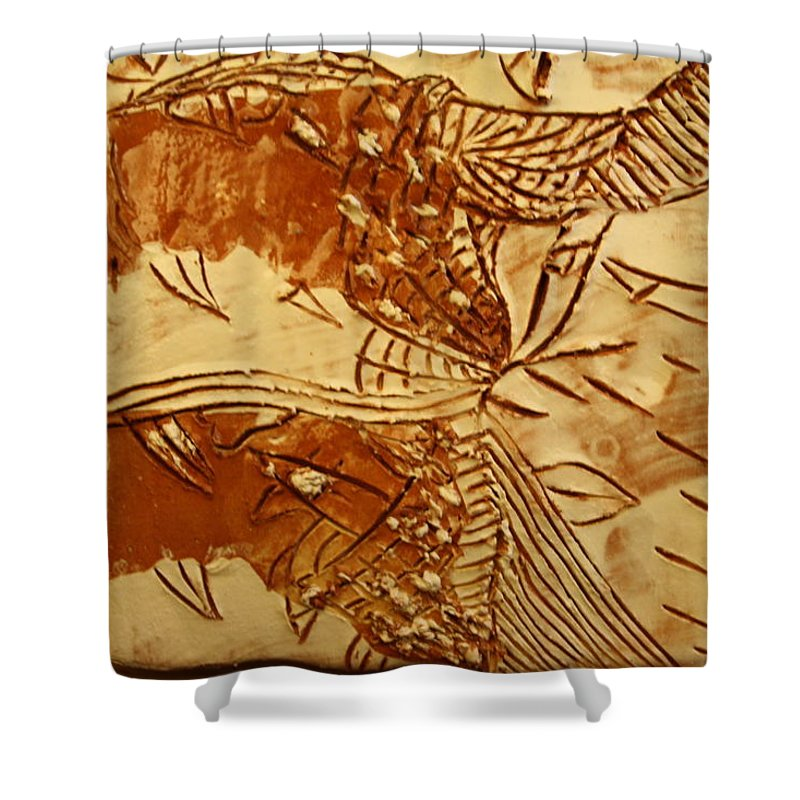 Jesus Shower Curtain featuring the ceramic art Smoky - Tile by Gloria Ssali