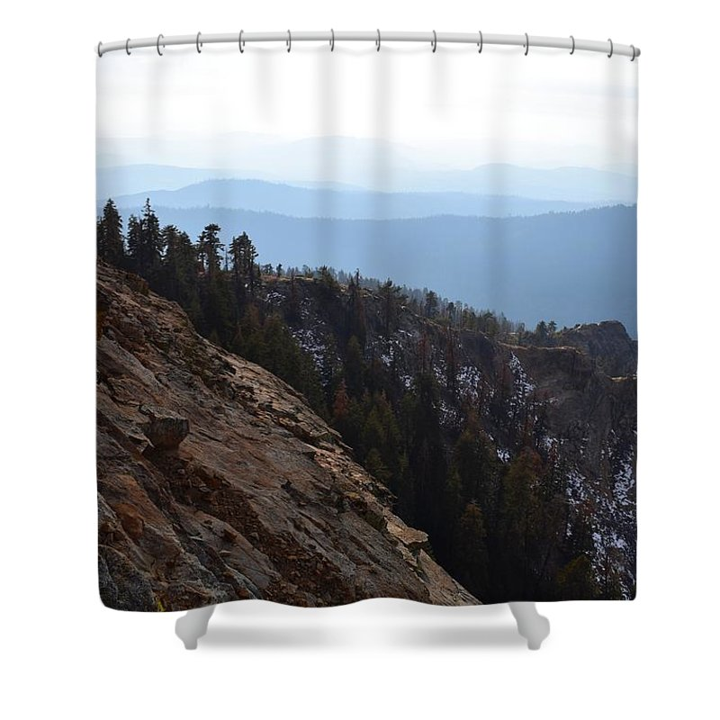 Alpine Shower Curtain featuring the photograph Smoky Evening Vista Over Kings Canyon by Will Sylwester