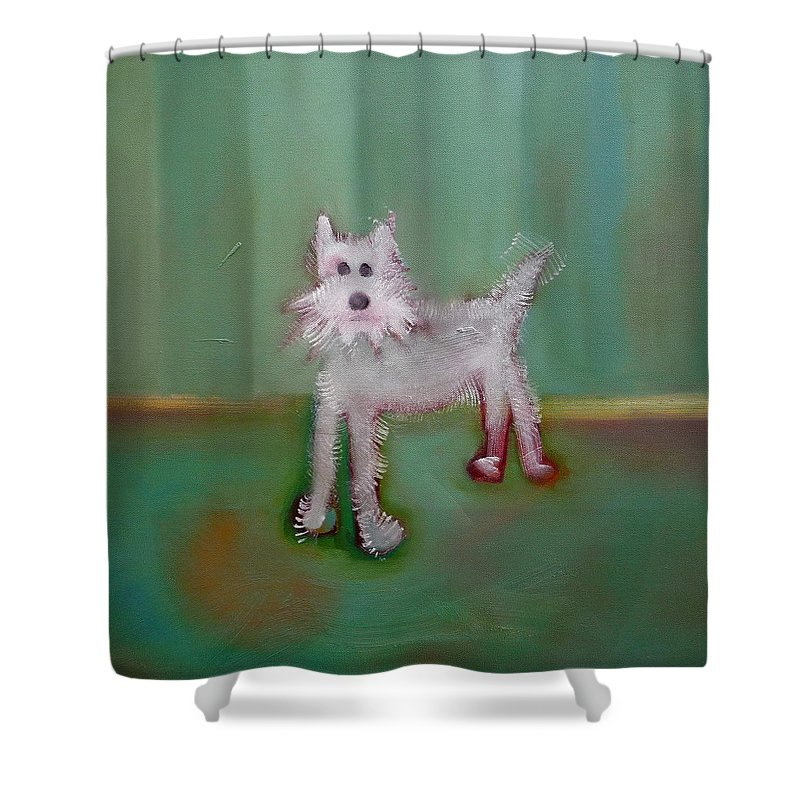 White Puppy Shower Curtain featuring the painting Snowy by Charles Stuart