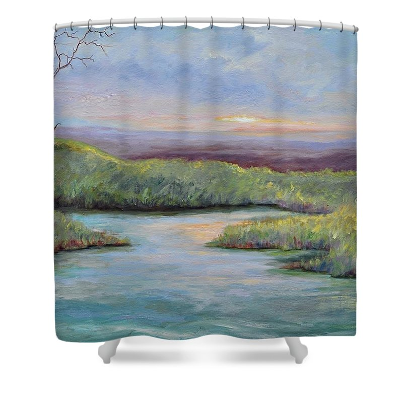 Lone Trees Shower Curtain featuring the painting Soledad by Ginger Concepcion