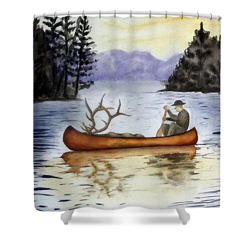 Canoe Shower Curtain featuring the painting Solitude by Jimmy Smith