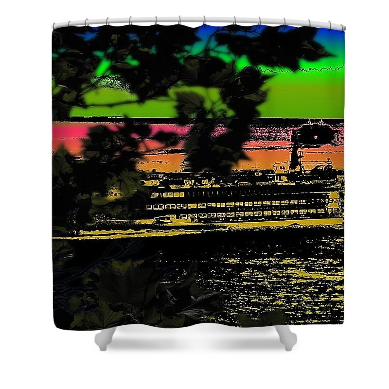 Ferry Shower Curtain featuring the digital art Soundside Treehouse View by Tim Allen