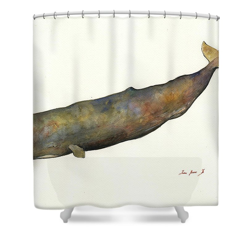 Whale Art Shower Curtain Featuring The Painting Sperm By Juan Bosco