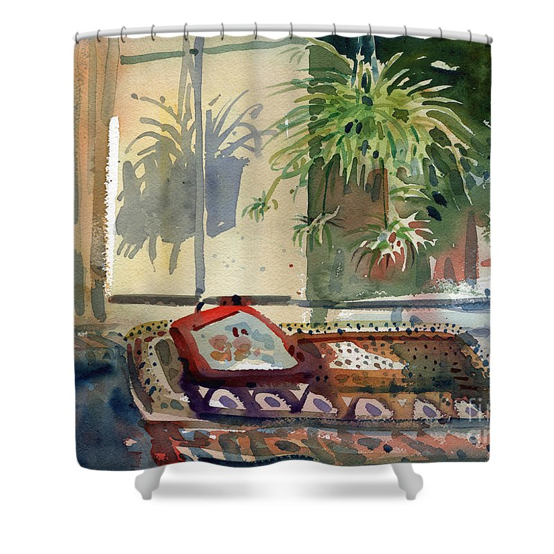 Spider Plant Shower Curtain featuring the painting Spider Plant In The Window by Donald Maier