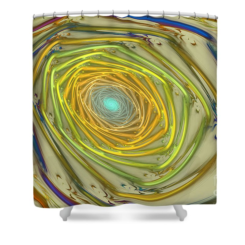 Fractal Shower Curtain featuring the mixed media Spiral Rainbow by Deborah Benoit