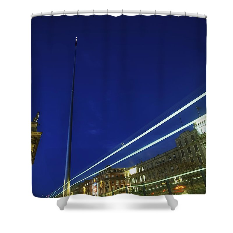 Outdoors Shower Curtain featuring the photograph Spire Of Dublin, Oconnell Street by The Irish Image Collection