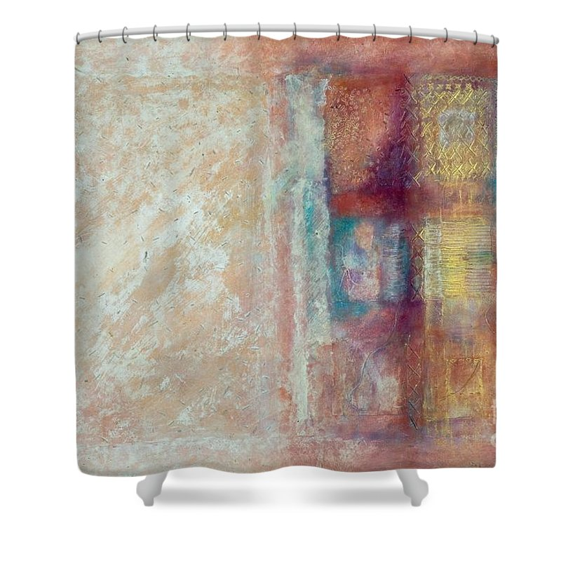 Mixed-media Shower Curtain featuring the painting Spirit Matter Cosmos by Kerryn Madsen-Pietsch