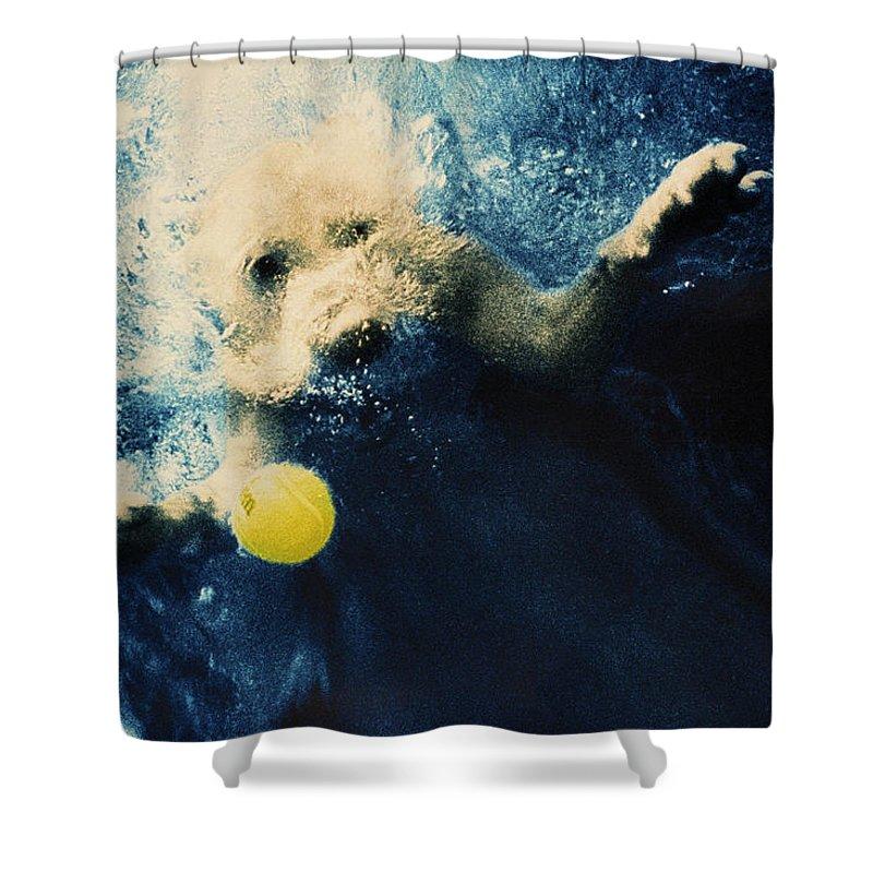 Dog Shower Curtain featuring the photograph Splashdown by Jill Reger