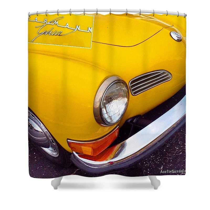 Sportscar Shower Curtain featuring the photograph Spotted This #car Today While by Austin Tuxedo Cat
